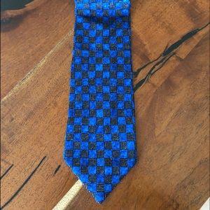 Ermenegildo Zelda 100% Silk Blue/Black Italian Tie